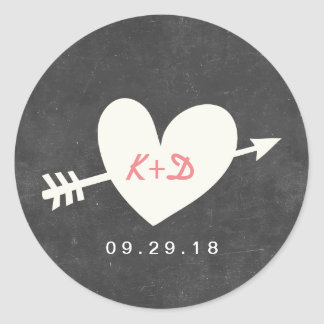 Simple Heart & Arrow Chalkboard Wedding Favor Round Sticker