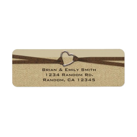 Simple heart burlap return address labels