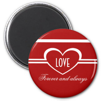 Simple Heart Magnet, Deep Red 6 Cm Round Magnet