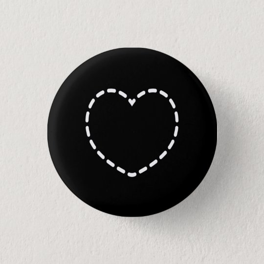 Simple Heart on Black 3 Cm Round Badge