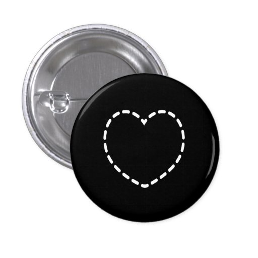 Simple Heart on Black Pinback Button