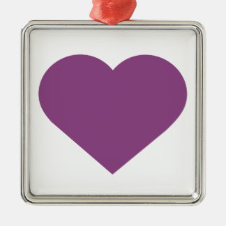 Simple Heart Plum Purple Modern Contemporary Silver-Colored Square Decoration