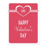 Simple Heart Valentine's Day Postcard, Dark Pink
