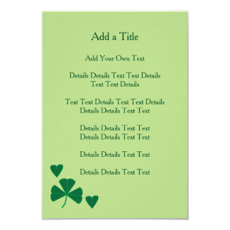 Simple Hearts and Shamrock Green Invite