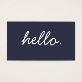 Simple Hello Navy Blue Professional Business Business Card