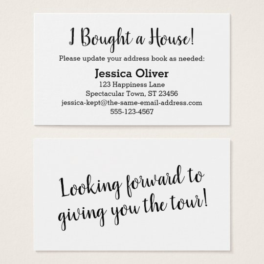"""Simple """"I Bought a House!"""" Card on Editable White"""