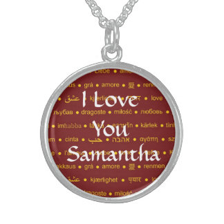 Simple I love you personalized valentines day Sterling Silver Necklace