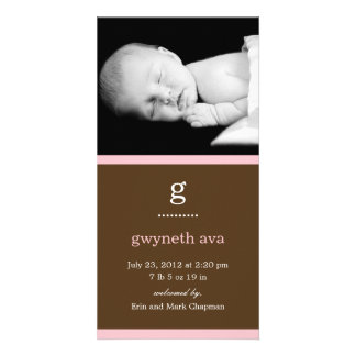 Simple Initial Baby Birth Announcement (Pink) Photo Card Template