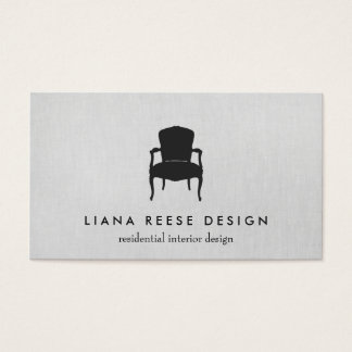 Simple Interior Design French Chair Logo Gray Business Card