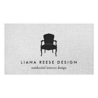 Simple Interior Design French Chair Logo Gray Pack Of Standard Business Cards