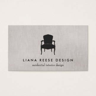 Simple Interior Design French Chair Logo Taupe Business Card