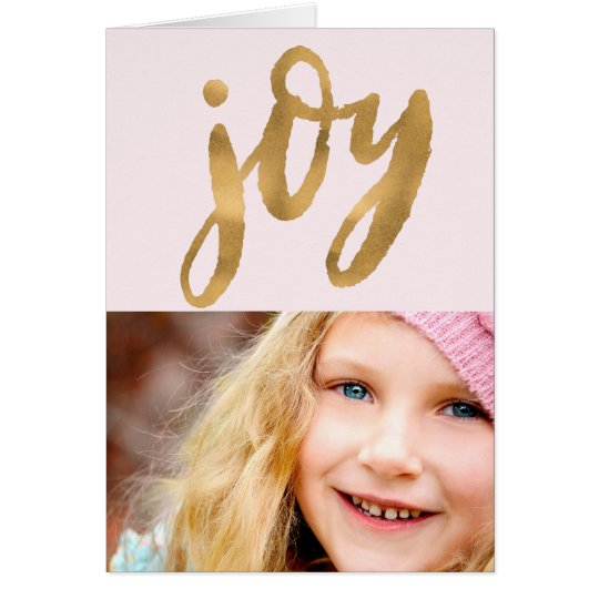 Simple Joy Hand Lettered Gold Script Holiday Photo Card