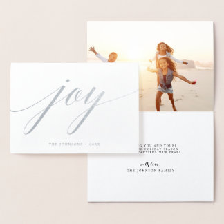 Simple Joy | Holiday Photo Silver Foil Card