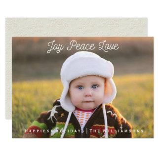 Simple Joy Peace Love Hand-lettered Holiday Photo 13 Cm X 18 Cm Invitation Card