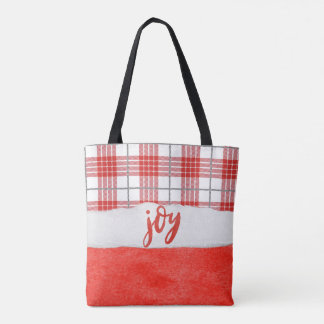Simple Joy Red and White Plaid Watercolor Tote Bag