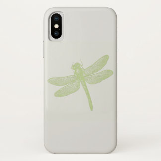 Simple Large Green Stamped Dragonfly iPhone X Case