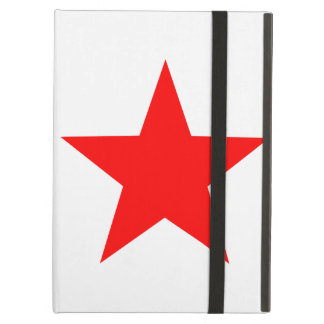 Simple Large Solid Red Star on White Cover For iPad Air
