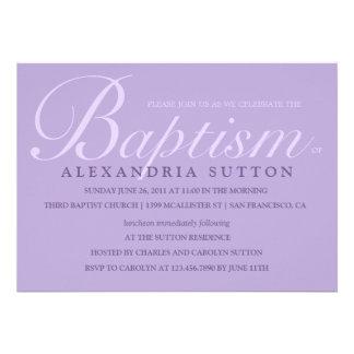 Simple Lavender Baptism Christening Invite