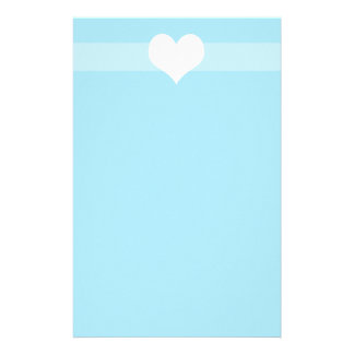 Simple light Blue Heart Stationary Stationery