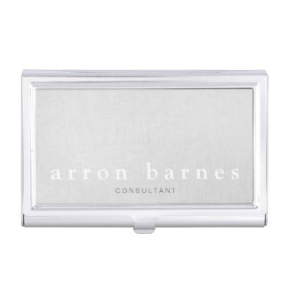 Simple Light Gray Modern Minimalist Designer Business Card Holder