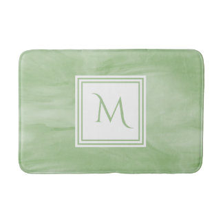 Simple Light Green Subtle Marble Modern Monogram Bath Mat