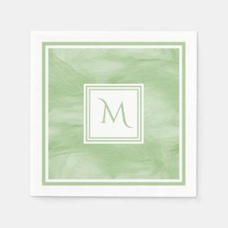 Simple Light Green Subtle Marble Modern Monogram Disposable Serviette