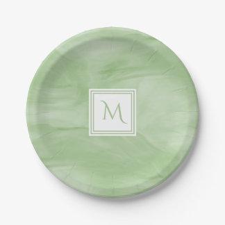 Simple Light Green Subtle Marble Modern Monogram Paper Plate
