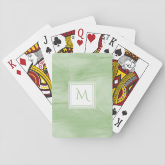 Simple Light Green Subtle Marble Modern Monogram Playing Cards