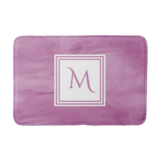 Simple Light Purple Subtle Marble Modern Monogram Bath Mat