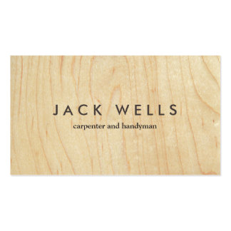Simple Light Wood Grain Carpenter and Handyman Pack Of Standard Business Cards