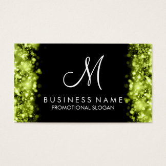 Simple Lime Lights Monogram Business Card