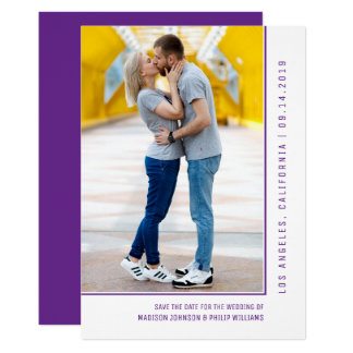 Simple Line Photo Save the Date | Violet Purple Card
