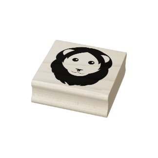 Simple Lion Face Rubber Stamp