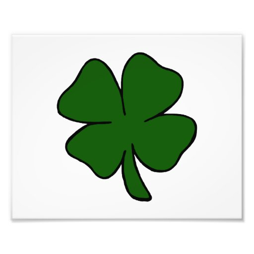 simple lucky four leaf clover design.png photographic print