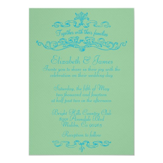 Simple Luxury Blue And Green Wedding Invitations