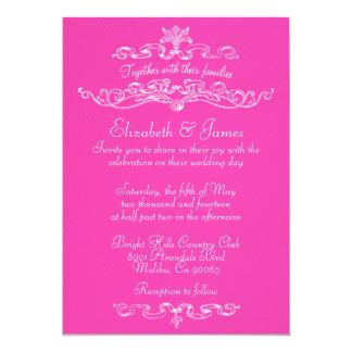 Simple Luxury Hot Pink Wedding Invitations