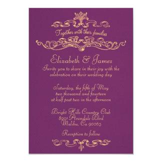 Simple Luxury Purple And Gold Wedding Invitations
