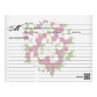 Simple Magenta Flower Bouquet Recipe Cards Postcard