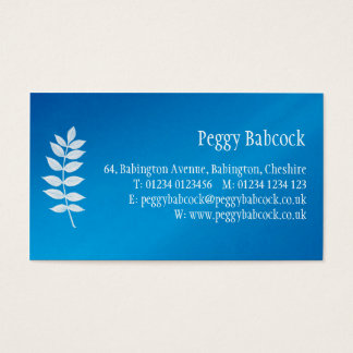 Simple Mediterranean Blue with Leaf Business Card