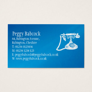 Simple Mediterranean Blue with Phone Business Card