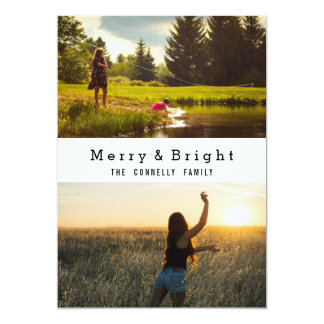 Simple Merry And Bright Two Photos Holiday Card
