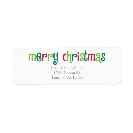 Simple Merry Christmas red green return labels