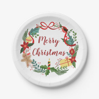 Simple Merry Christmas Wreath   Paper Plates