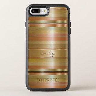 Simple Metallic Gold And Copper Stripes OtterBox Symmetry iPhone 8 Plus/7 Plus Case