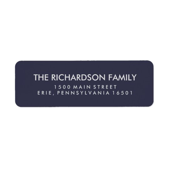 Simple Midnight Blue and Silver Return Address Label