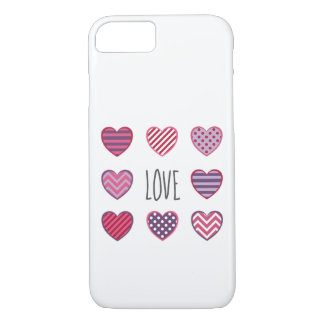 Simple Minimal Pattern Hearts Love Valentine iPhone 8/7 Case