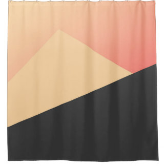 Simple Minimal Peach, Coral, & Black Geometric Shower Curtain