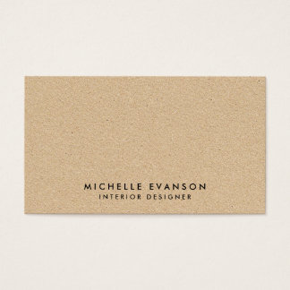 Simple Minimal Tan Kraft Look Rustic Business Card