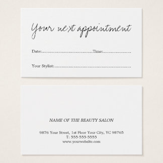 Simple Minimal White Beauty Salon Appointment Card