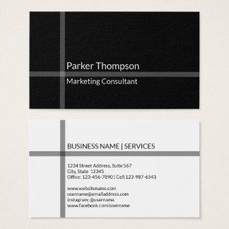 Simple Minimalist Black Cross Stripe Professional Business Card